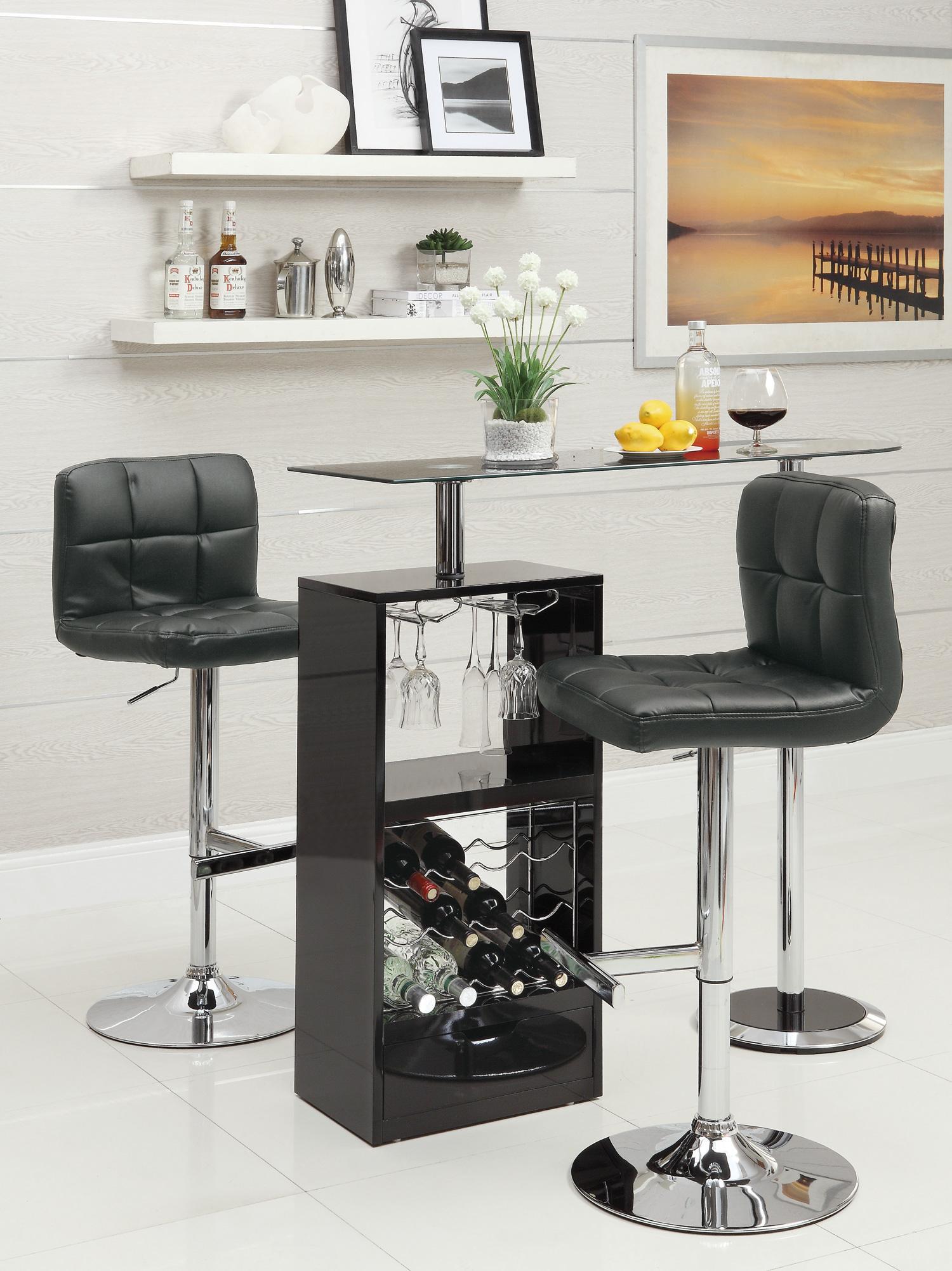 Co120451 Kran Black Finish Revolving Wine Bar Table