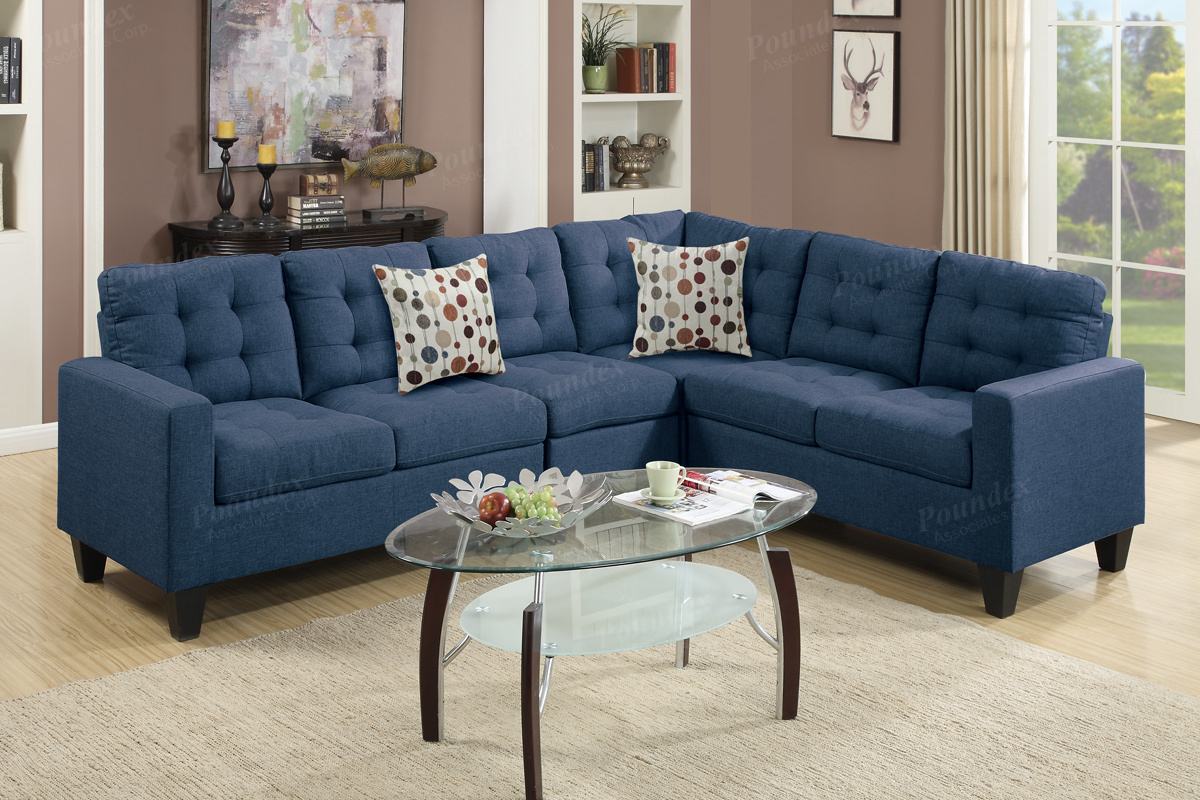 F6938 - Navy Sectional Sofa - Factory Less Furniture
