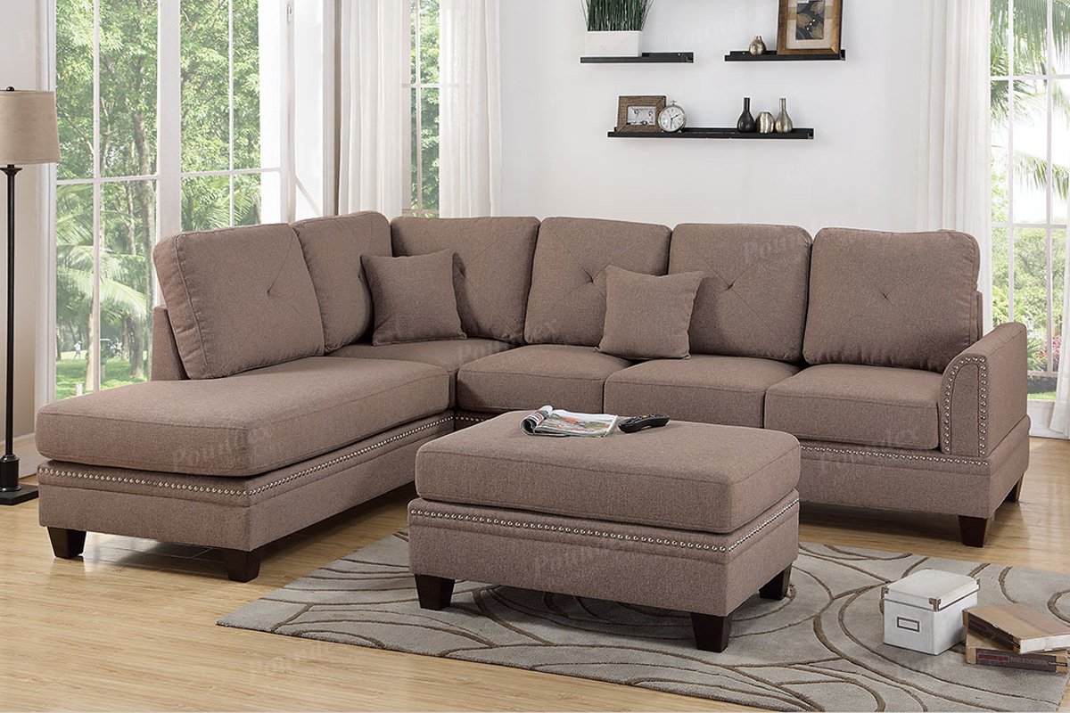 F6513 - Polyfiber 2-Pc Sectional Sofa - Factory Less Furniture